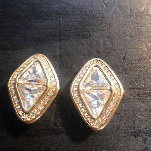 Swarovski earrings vintage goldtone clip ons